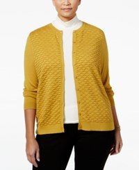 August Silk Plus Size Textured Cardigan Gold