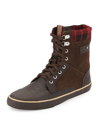 Ben Sherman Carter Plaid Collar Suede Boot Chocolate