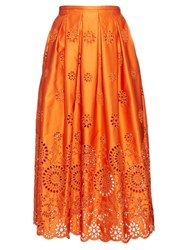 Rochas Broderie Anglaise Structured Midi Skirt Orange