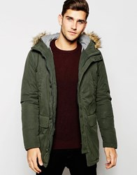United Colors Of Benetton Parka With Faux Fur Hood Khaki