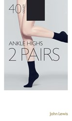 John Lewis 40 Denier Ankle High Socks Pack Of 2 Navy