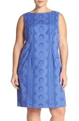 Plus Size Women's Chetta B Sleeveless Eyelet Cotton Sheath Dress China Blue
