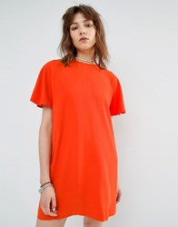 Mango Short Sleeve Shift Dress Orange