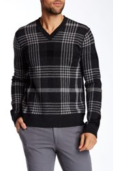 Vince Plaid Jacquard Wool And Cashmere Blend V Neck Sweater Gray