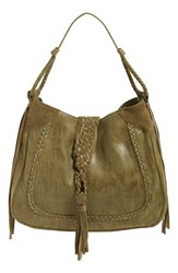 Sole Society 'Vail' Braided Trim Faux Suede Shoulder Bag Green Olive
