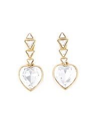 Yves Saint Laurent Vintage Heart Shaped Pendant Earings Metallic