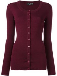 Dolce And Gabbana Ribbed Cardigan Red