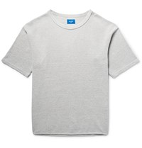 Beams Waffle Knit Cotton T Shirt Gray