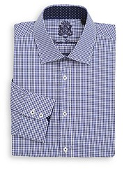 English Laundry Regular Fit Micro Gingham Check Cotton Dress Shirt Blue