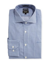 Neiman Marcus Trim Fit Regular Finish Square Print Dress Shirt Blue