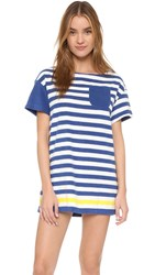 Solid And Striped The Tee Dress Blue And Cream Terry