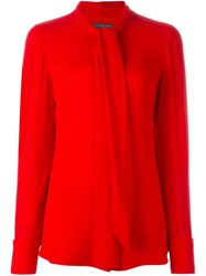 Alexander Mcqueen Pussy Bow Blouse Red