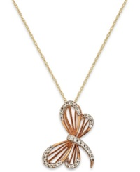 Macy's Diamond 1 10 Ct. T.W. Dragonfly Pendant Necklace In 10K Gold