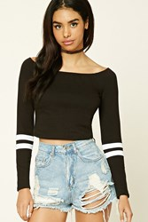 Forever 21 Off The Shoulder Crop Top Black White