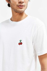 Urban Outfitters Embroidered Cherry Tee White