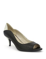 Ellen Tracy Sidney Leather Pumps Black White