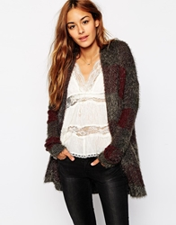 Abercrombie And Fitch Longline Fluffy Checked Cardigan Burgplaid
