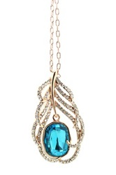 Eye Candy Los Angeles Crystal My Feather Pendant Necklace Blue