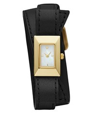 Kate Spade Kenmare Stainless Steel And Leather Double Wrap Strap Watch Black