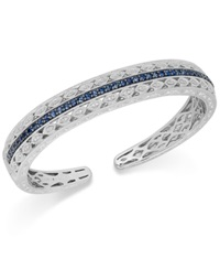 Macy's Sapphire 1 5 8 Ct. T.W. And Diamond 1 10 Ct. T.W. Bangle Bracelet In Sterling Silver Blue