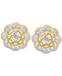 Victoria Townsend Diamond Accent Flower Stud Earrings In 18K Gold Over Sterling Silver