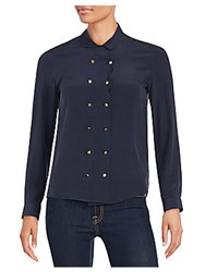 The Kooples Silk Double Button Front Blouse Navy
