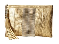 Rafe New York Large Celia Clutch Gold Leaf Clutch Handbags Orange