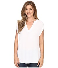Allen Allen Split Neck Top White Women's Sleeveless