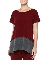 Josie Two Tone Brushed Jersey Top Red Gray