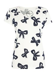 Dickins And Jones Top Bows Print Table Tee Navy