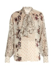 See By Chloe Tie Neck Multi Floral Print Blouse Ivory Multi