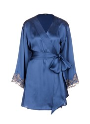 La Perla 'Maison' Floral Embroidered Silk Blend Robe Blue