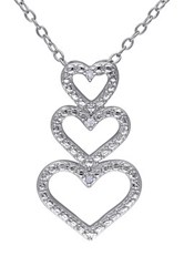 Sterling Silver White Diamond Triple Heart Pendant Necklace 0.02 Ctw