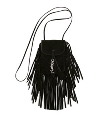 Saint Laurent Anita Mini Flat Suede Shoulder Bag With Fringe Black Noir Men's