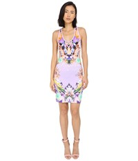 Just Cavalli Fitted Printed Jersey Tank Dress Leo Giraffe Print Lux Violet Women's Dress White