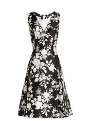 Oscar De La Renta Rosebush Print Sleeveless Silk Blend Dress Black White