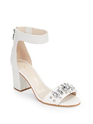 Enzo Angiolini Gavenia Jeweled Ankle Strap Sandals White