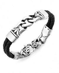 Sutton By Rhona Sutton Men's Stainless Steel Link And Braided Leather Bracelet