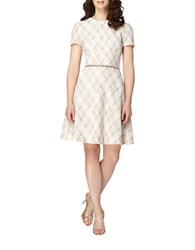 Tahari By Arthur S. Levine Popcorn Boucle Tweed A Line Dress Ivory White