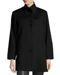 Fleurette Stand Collar Wool Coat Black