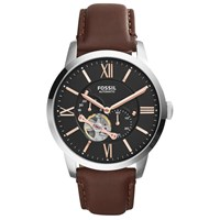 Fossil Me3061 Men's Townsman Skeleton Automatic Leather Strap Watch Brown Black