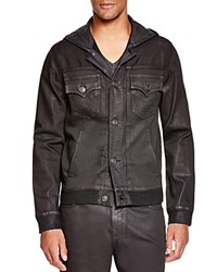 True Religion Dylan Hooded Coated Denim Jacket