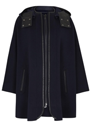 Vince Navy Leather Trimmed Wool Blend Cape