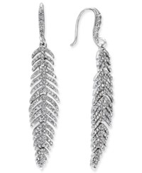 Inc International Concepts Silver Tone Pave Feather Linear Drop Earrings Only At Macy's