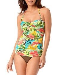 Anne Cole Island Time Shirred Tankini Top Multi Colored