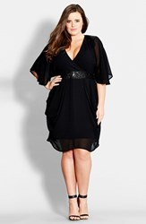 Plus Size Women's City Chic Sequin Wrap Front Dress Black
