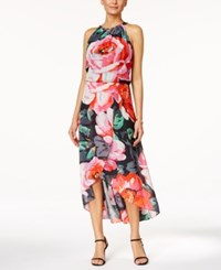 Msk Floral Print High Low Tulip Dress Rose Multi