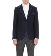 Etro Tipped Tweed Jacket Blue