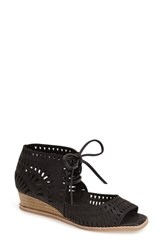 Women's Jeffrey Campbell 'Rodillo' Wedge Sandal Black Leather