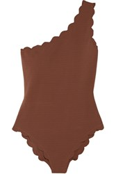 Marysia Santa Barbara Scalloped One Shoulder Swimsuit Chocolate